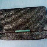 Стильный плетенный бронзовый золотистый клатч