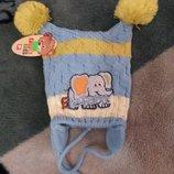 Теплая шапочка с завязками, размер до 1 года, цвет голубой, cкидка