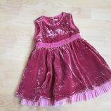 Платье велюровое на 1-2-3 года