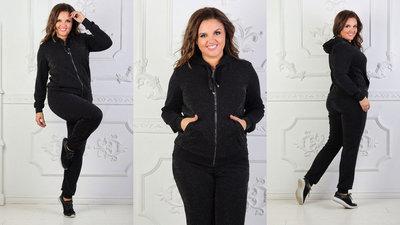 6ae0b420 Женский стильный спортивно-прогулочный костюм в больших размерах 5129  Люрекс Капюшон в расцветках