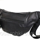 Кожаная сумка на пояс бананка SW8683 черная поясная барсетка через плечо мужская женская барыжка