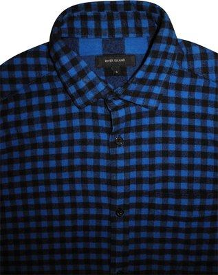 a7d57d57e4b Мужская рубашка в клетку синяя River Island S M  400 грн - рубашки ...