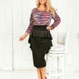 Костюм юбка с рюшами, батал, Размеры 50-52, 52-54, 54-56