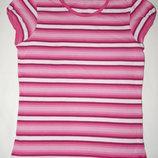 Бело-Розовая в полоску футболка George на девочку 7-8 лет. Рост 122-128 см.