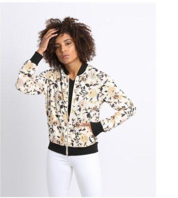 Легкий белый бомбер куртка авиатор на молнии,черных манжетах и с цветочным принтом New Look