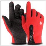 Перчатки ветрозащитные утепленные для сенсорных экранов LXY красные на замке анти-скольжение код 108