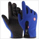 Перчатки ветрозащитные утепленные для сенсорных экранов LXY синие на замке анти-скольжение код 108