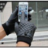 Перчатки мужские очень теплые для сенсорных экранов черные код 102