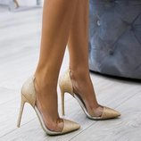 Золотые туфли с силиконовыми вставками