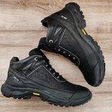 3 цвета. Черные мужские зимние кроссовки ботинки Ecco . Натуральный мех и кожа