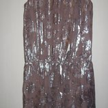 Шелковое платье с серебряной нитью Next