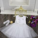 Праздничное платье для девочки со снежинками ПОДАРОК перчатки 3-5 лет