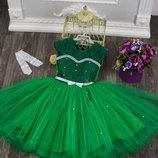 Праздничное платье для девочки Подарок ПЕРЧАТКИ 4-7 лет
