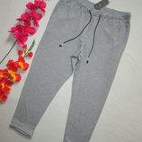 Трикотажные стрейчевые плотные укороченные брюки серый меланж высокая посадка Marks & Spencer .