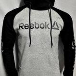 Теплая кофта с капюшоном Reebok серая комбинированная..