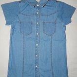 Голубая джинсовая рубашка Next на ребенка 5 лет. Рост 110 см.