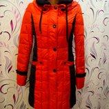 Теплое стеганое пальтишко лососево оранжевое.размер с-м