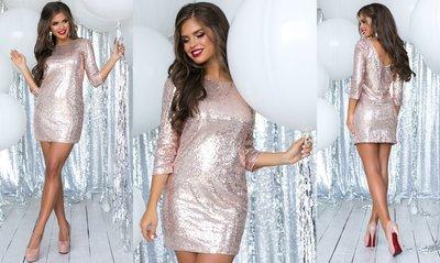 Новинка Яркое нарядное мини-платье 2 вида пайетки крупная и мелкая трикотажный подклад р40 по р46