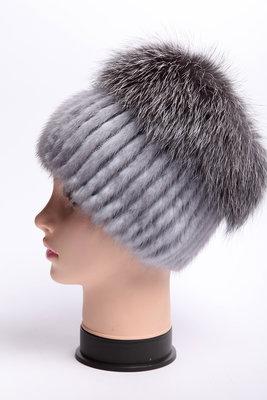шапка женская вязаная из меха норки и чернобурки кубанка 1650 грн