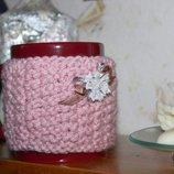 Чашка с чехлом, чехол вязаный на чашку, грелка-чехол на чашку
