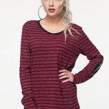 Теплый свитер кофта в полоску Сандра с вставками латки из ангоры скл.15
