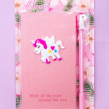 Набор блокнот с ручкой Единорог Фламинго