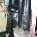 Кожаное дизайнерское пальто Steve Madden с чернобуркой