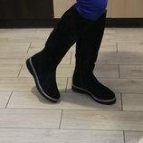 Высокие, шикарные женские сапоги до колена, замша натуральная , высокого качества, с 36-41р