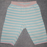Трикотажные штаны Mothercare для сна в бело-голубую полоску. На девочку 6-7 лет. Рост 116-122 см.