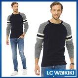 Мужской свитер черный LC Waikiki / Лс Вайкики с серыми рукавами и полосками на рукавах