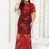 Нарядное платье итальянский гипюр, батал, Размер 50, 52, 54, 56