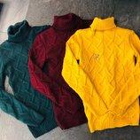 Вязаный свитер с горлом,гольф ,водолазка , 42-46р ,с-м-л