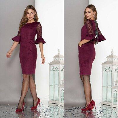 Фантастическое замшевое платье со шнуровкой на спине, р.S,M,L,XL,XXL