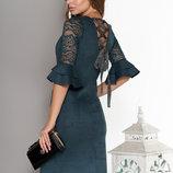 Фантастическое замшевое платье со шнуровкой на спине, р. S, M, L, XL, XXL