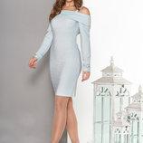 Вечернее платье с открытыми плечами трикотаж c люрексом