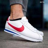 Как Оригинал. Бесплатная доставка. Кроссовки Nike Cortez бело-красные KS 761