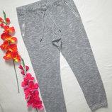 Трикотажные стрейчевые спортивные брюки серый меланж высокая посадка F&F.