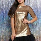 2 цвета нарядные оригинальные платья пайетки С-М