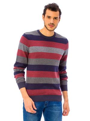 Мужской свитер LC Waikiki / Лс Вайкики в красную, синюю и серую полоску