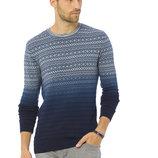 Мужской свитер LC Waikiki / Лс Вайкики с узором и переходом из голубого в синий