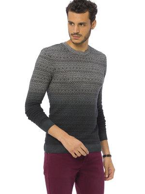 Мужской свитер LC Waikiki / Лс Вайкики с узором и переходом из серого в графитовый цвет