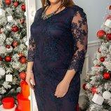 Шикарное нарядное вечернее гипюровое платье с ленточной вышивкой на сетке хл размеры скл.1 арт48839