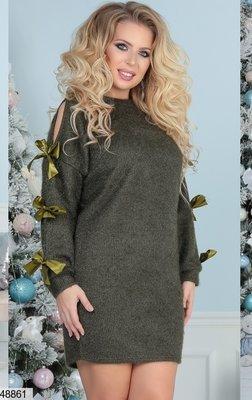 Теплое платье с лентами из пушистой ангоры хл размеры скл.1 арт.48861