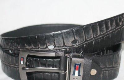 Пояс ремень кожаный 4 см аллигатор черный терка