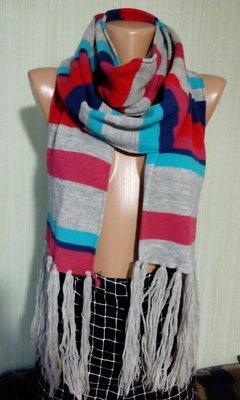 Шарф полосатый, стильный, яркий, теплый с длинными кистями