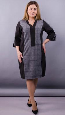 Комбінована сукня для пишних жінок. Розміри 50-52, 54-56, 58-60, 62-64 Колір чорний клітинка си