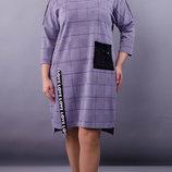 Ошатне плаття великих розмірів. Розміри 50-52, 54-56, 58-60, 62-64 Колір сірий клітинка бузок