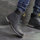 Caterpillar ботинки зимние мужские натуральная кожа темно синие 6937