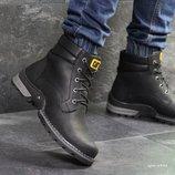 Caterpillar ботинки зимние мужские натуральная кожа черные 6938