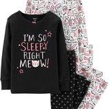 Комплект пижам Carters 6,7,8 лет Котики, хлопок в наличии для девочки